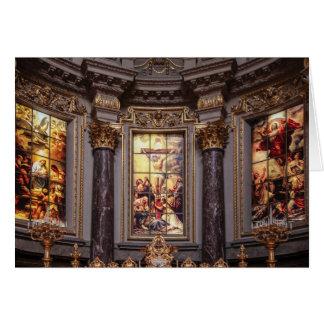 Glassart de retable d'autel d'église carte de vœux
