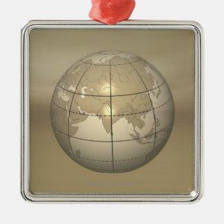 globe 3D Ornement Carré Argenté