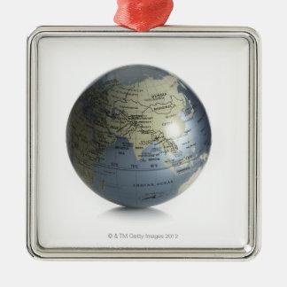 Globe 4 ornement carré argenté