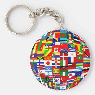 Globe de drapeau porte-clé rond