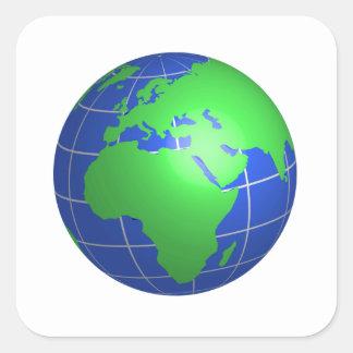 Globe de l Afrique et de l Europe Autocollants Carrés