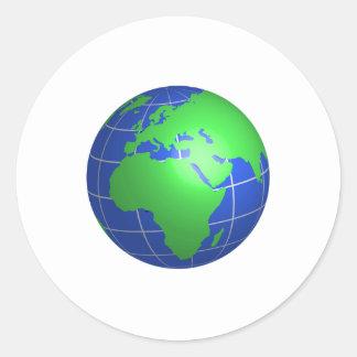Globe de l Afrique et de l Europe Adhésif Rond