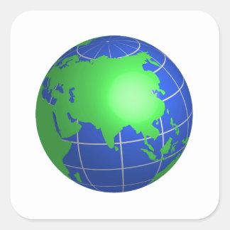 Globe de l Asie Autocollants Carrés