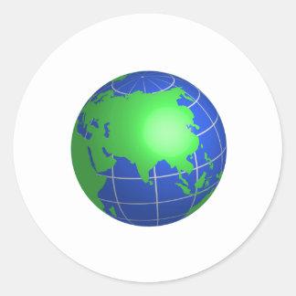 Globe de l Asie Adhésifs Ronds