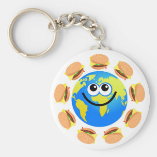 Globe d'hamburger porte-clé rond