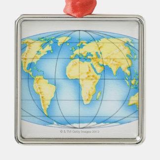 Globe du monde ornement carré argenté