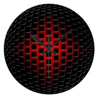 globe en métal 3D (noir et rouge) Horloge