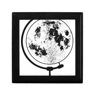 Globe lunaire monté sur le pivot tournant petite boîte à bijoux carrée