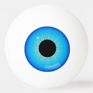 Globe oculaire bleu d'iris balle tennis de table