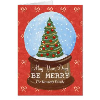 globe peint à la main de neige d'arbre de Noël Carte De Vœux