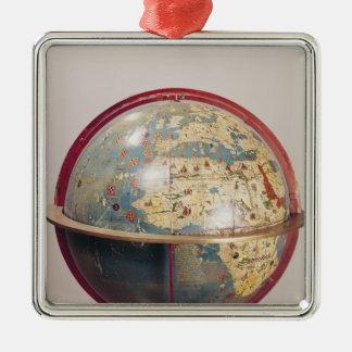 Globe terrestre, montrant l'Océan Indien Ornement Carré Argenté