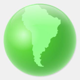 Globe vert de l'Amérique du Sud Adhésif Rond
