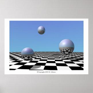 Globes argentés de flottement posters