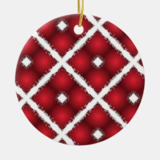 Globes rouges, rétro motif de losanges blancs ornement rond en céramique