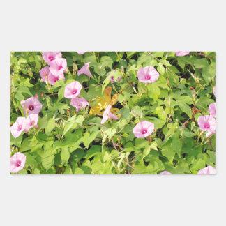 Gloires de matin roses Bush Sticker Rectangulaire