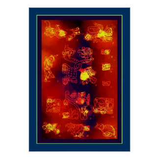 Glyphs maya antiques posters
