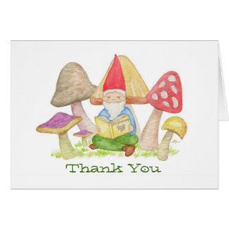 Gnome avec le carte de remerciements de livre de