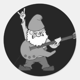 Gnome de héros de guitare sticker rond