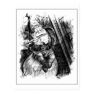 Gnome heureux jouant la cannelure (B/W) carte post
