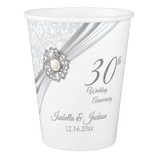 Gobelets En Papier 30ème Anniversaire de mariage de perle de diamant