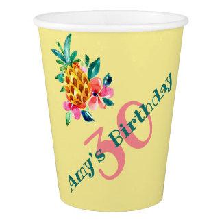 Gobelets En Papier Ananas tropical d'aquarelle pour la partie de Luau