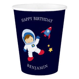 Gobelets En Papier Anniversaire de enfant de garçon d'astronaute
