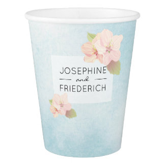 Gobelets En Papier Aquarelle bleue de fleurs de cerisier épousant la