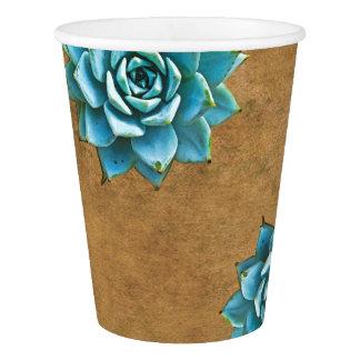 Gobelets En Papier Aquarelle succulente Brown rustique
