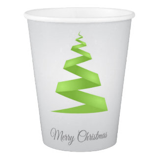 Gobelets En Papier Arbre de Noël simple de ruban de Noël