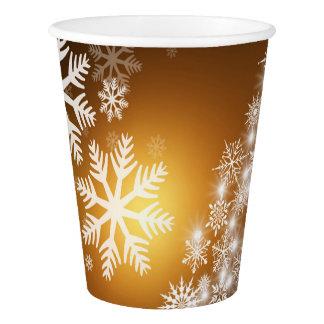 Gobelets En Papier Arbre d'or de flocon de neige de Bokeh de Noël