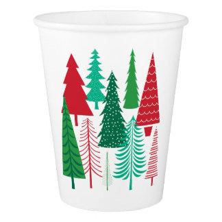Gobelets En Papier arbres de Noël contemporains modernes