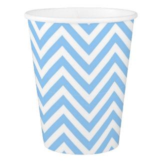 Gobelets En Papier Bleu élégant moderne de Chevron et blanc