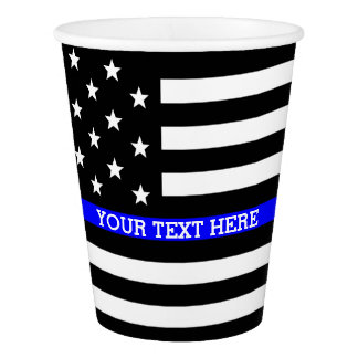 Gobelets En Papier Blue Line mince - coutume personnalisée de drapeau