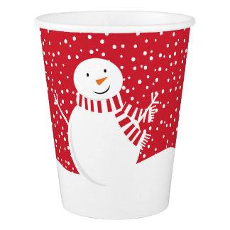 Gobelets En Papier bonhomme de neige contemporain moderne d'hiver