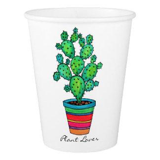 Gobelets En Papier Cactus magnifique d'aquarelle dans le beau pot
