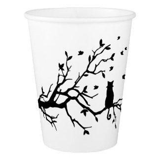Gobelets En Papier Chat sur un arbre - silhouette