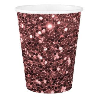 Gobelets En Papier Copie rose moderne de rose de scintillement de