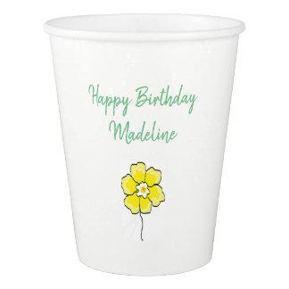 Gobelets En Papier Coutume verte blanche de MODÈLE de tasses de