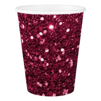 Gobelets En Papier Étincelle rose magenta de scintillement de Faux
