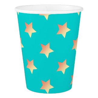 Gobelets En Papier Étoile orange lumineuse sur le bleu
