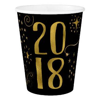 Gobelets En Papier Feuille d'or de Faux de partie de 2018 réveillons