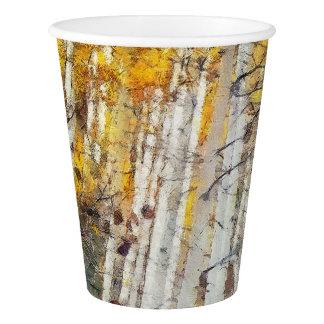 Gobelets En Papier Forêt brumeuse de bouleau