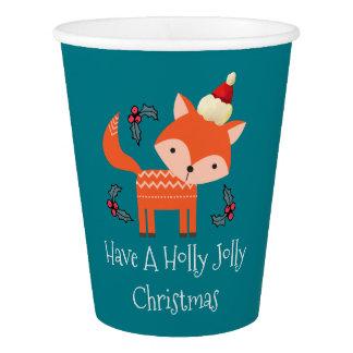 Gobelets En Papier Fox orange dans Noël lunatique mignon de casquette