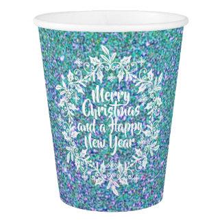 Gobelets En Papier Joyeuses tasses de papier scintillantes de Noël |