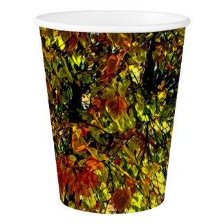 Gobelets En Papier L'arbre stylisé d'automne laisse la tasse de