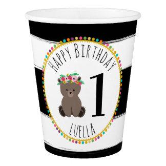 Gobelets En Papier Le pompon d'ours barre la fête d'anniversaire