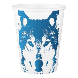Gobelets En Papier Loup de bleu glacier d'illustration