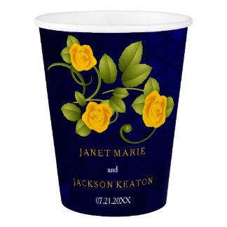 Gobelets En Papier Mariage bleu-foncé et de souci de rose jaune