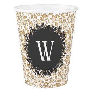 Gobelets En Papier Motif floral d'or avec le monogramme gris-foncé de