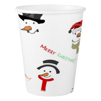 Gobelets En Papier Motif lunatique de bonhomme de neige de Noël